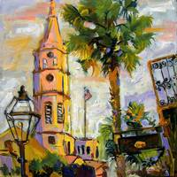 Charleston South Carolina St. Michael's Church Oil
