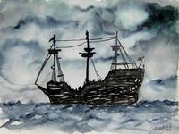 captain memo pirate ship art painting