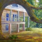 """Louisiana Art; Oak Tree, Mansion"" by Lenora"