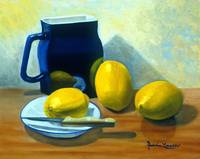 BLUE PITCHER WITH LEMONS