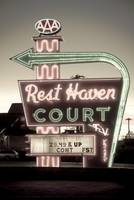 Route 66. Neon Signs of Rest Haven Court Motel