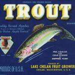 """Trout Fish Apple Crate Label"" by LABELSTONE"
