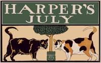 Vintage Harper's July Calendar Cats