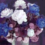 """TF Small Peony Rose Blue Mauve White"" by LeslieTillmann"
