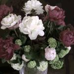"""TF Small Peony Rose Burgundy white Dark Green"" by LeslieTillmann"