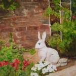 """Yard Bunny Statue in Flower Garden"" by kerralindsey"