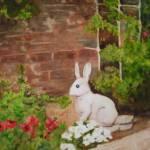 """""""Yard Bunny Statue in Flower Garden"""" by kerralindsey"""