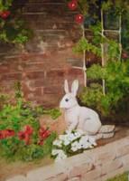 Yard Bunny Statue in Flower Garden