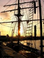 sunset in the rigging