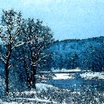 """Winter Stream Watercolor"" by HodlinGallery"