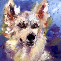 Wolf Dog Oil Painting by Ginette Callaway