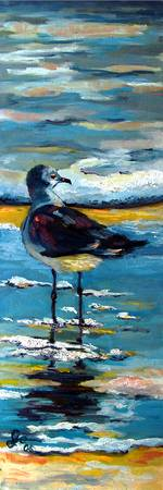 Seagull Standing on a Beach Bird Oil Painting