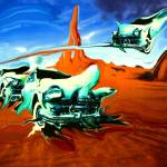 """Green Cars In Red Desert - Surrealistic Artwork"" by Art-America"