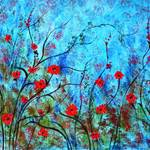 """Red poppies blue background 2934"" by jeanvadalsmith"