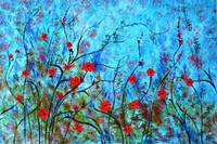 Red poppies blue background 2934