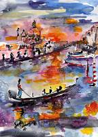 Venice Gondola Italy Grand Canal Watercolor