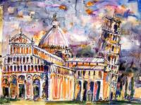 Pisa Leaning Tower Watercolor and Ink Ginette