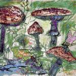 """Forest Floor - Mushroom World Mixed Media by Ginet"" by GinetteCallaway"