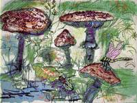 Forest Floor - Mushroom World Mixed Media by Ginet