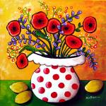 """Red Poppies in Polka Dot Vase"" by reniebritenbucher"
