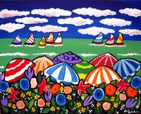 Beach Umbrellas and Sailboats