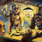 """The Banana Eaters After VanGogh  Oil Painting by G"" by GinetteCallaway"