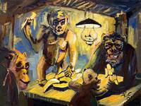 The Banana Eaters After VanGogh  Oil Painting by G