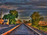 Train Track HDR  Sunset Colors