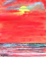 oil sun beach seascape painting