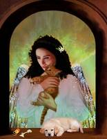 Angel with a Kitten and a Puppy
