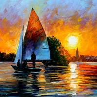sunset lake sailboat