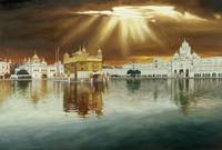 Golden Temple Sunset Painting