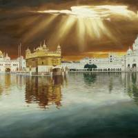 Golden Temple Sunset Painting Art Prints & Posters by SikhPhotos.com Gallery