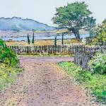 """looking south - bay at Mendocino"" by hitchcock"