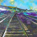 """Train Tracks Blue Sky"" by artistfaye"