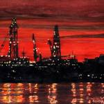 """Oil Rigs Night Construction"" by dominicwhite"