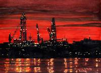 Oil Rigs Night Construction