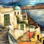 """Santorini Village - Fine Art Painting"" by Art-America"