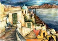 Santorini Village - Fine Art Painting