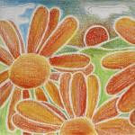 """""""Fleurs oranges au pastel"""" by recto-verso"""