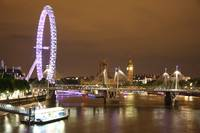 london eye, river thames and big ben at night