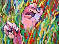 Hands Defy Their Planting (detail 9 fists)