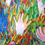 """Hands Defy Their Planting (detail 10 crop)"" by sondrasula"
