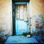 """Old Wooden Door In Yellow And Blue"" by joshuaphotography"