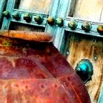 """Copper Pot and Painted Antique Door No. 2"" by MBush1us"