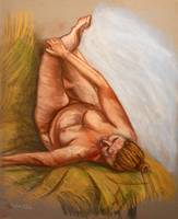 Nude Laying on Green Blanket