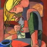 """Woman with flower"" by Prestonart"