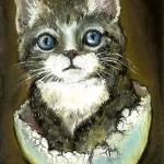 """Eggshell kitten"" by tanyabond"