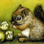 """Baby Squirrel and Hazelnuts"" by tanyabond"