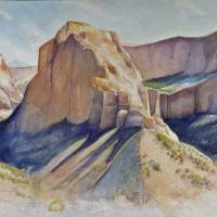 In Zion National Park watercolor cropped and clean Art Prints & Posters by Greg Marquez